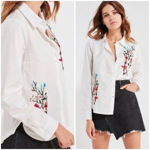 BDG Floral Embroidered Button Down Shirt White XL